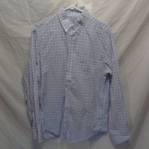 J Crew Mens Button Down Shirt Blue and White